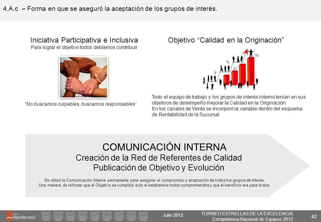TORNEO ESTRELLAS DE LA EXCELENCIA Competencia Nacional de Equipos 2012 Julio 2012 4.A.c – Forma en que se aseguró la aceptación de los grupos de inter