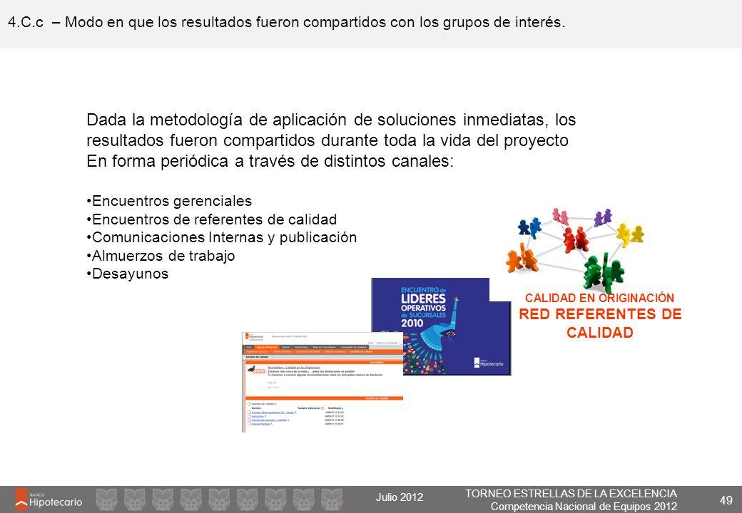 TORNEO ESTRELLAS DE LA EXCELENCIA Competencia Nacional de Equipos 2012 Julio 2012 4.C.c – Modo en que los resultados fueron compartidos con los grupos
