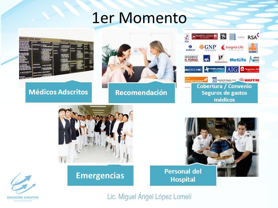 1er Momento Médicos Adscritos Recomendación Cobertura / Convenio Seguros de gastos médicos Emergencias Personal del Hospital
