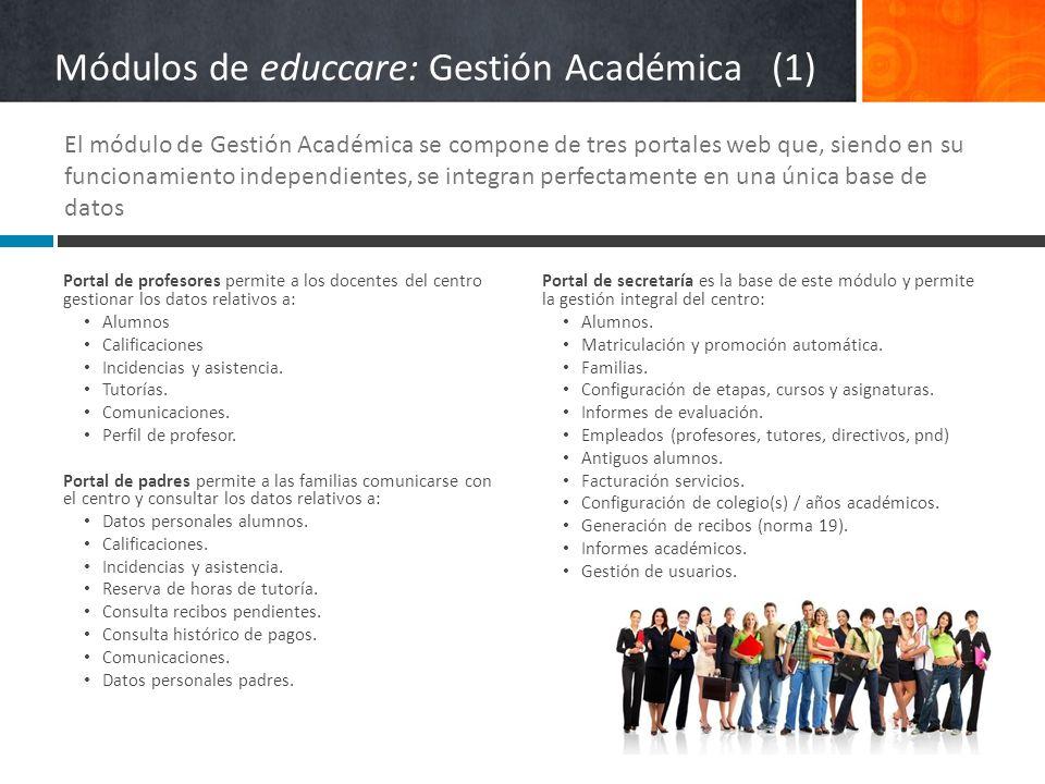 Portal de profesores permite a los docentes del centro gestionar los datos relativos a: Alumnos Calificaciones Incidencias y asistencia. Tutorías. Com