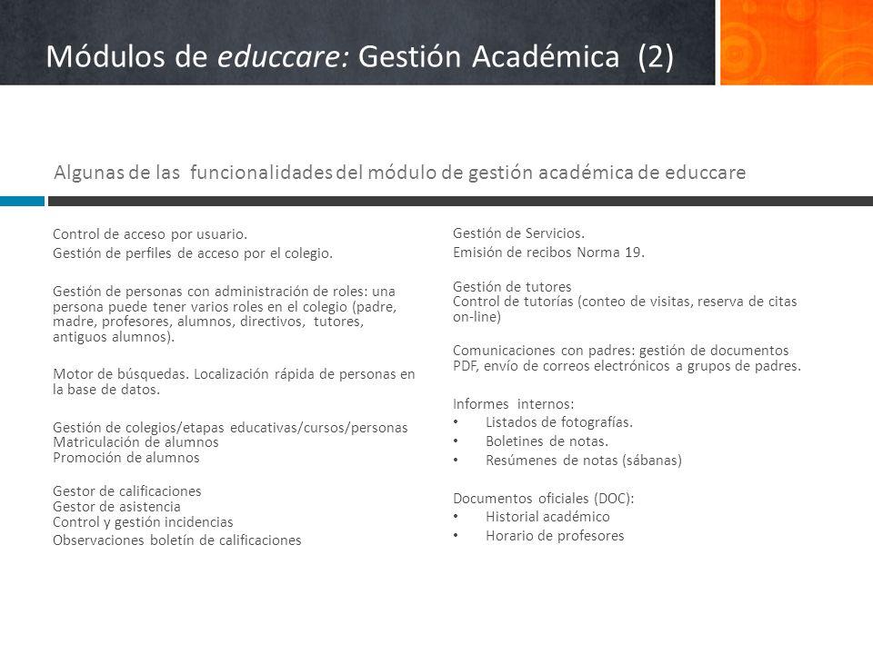 Módulos de educcare: Gestión Académica (2) Control de acceso por usuario. Gestión de perfiles de acceso por el colegio. Gestión de personas con admini