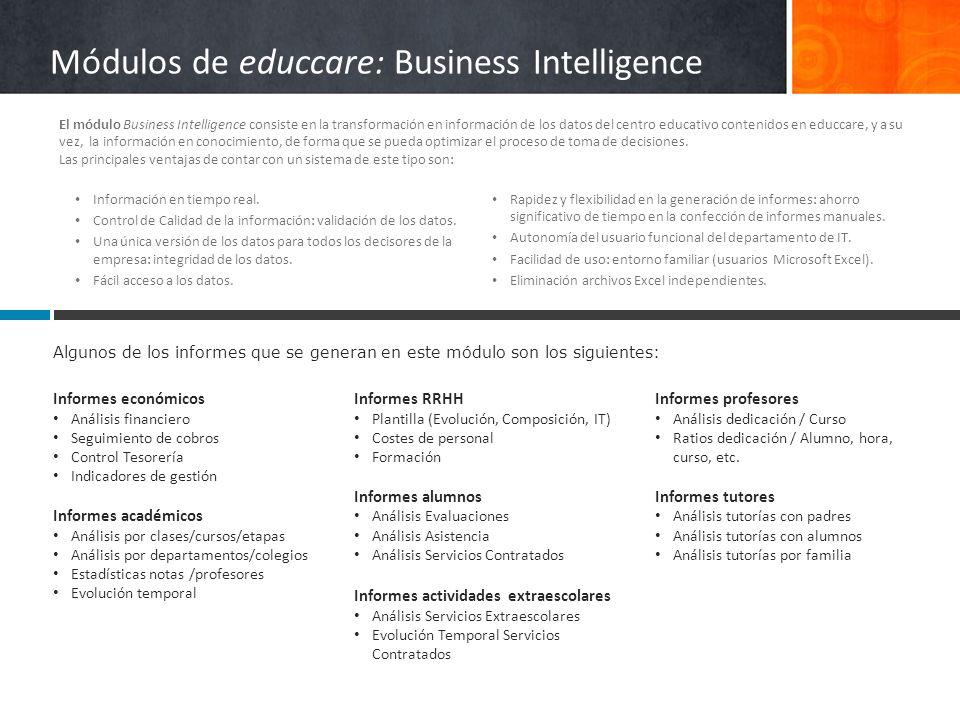 Módulos de educcare: Business Intelligence Informes económicos Análisis financiero Seguimiento de cobros Control Tesorería Indicadores de gestión Info