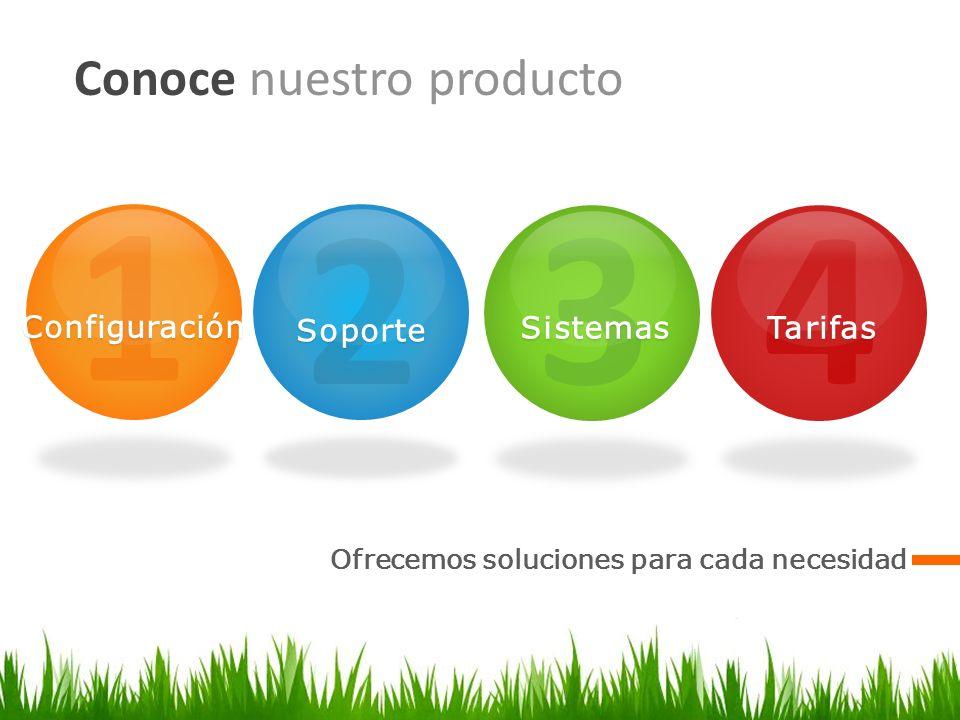 1Configuración 2Soporte 3Sistemas Conoce nuestro producto Ofrecemos soluciones para cada necesidad 4Tarifas