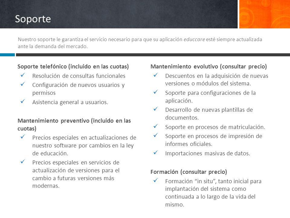 Soporte Soporte telefónico (incluido en las cuotas) Resolución de consultas funcionales Configuración de nuevos usuarios y permisos Asistencia general
