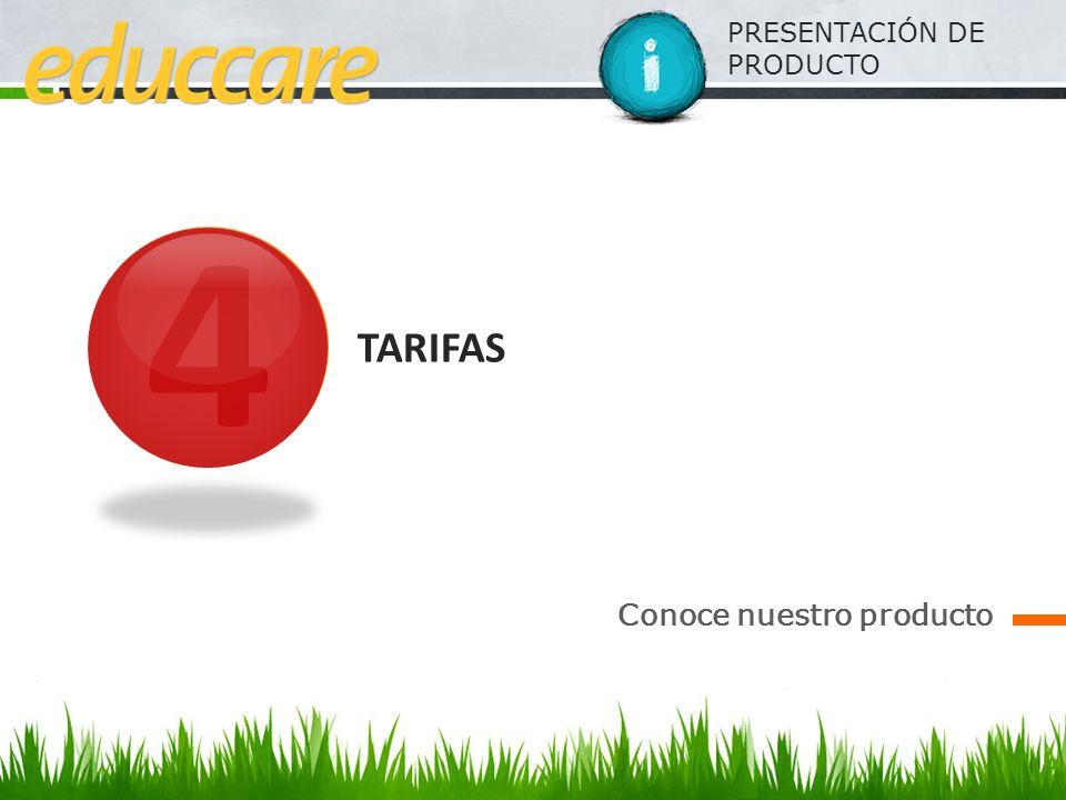 PRESENTACIÓN DE PRODUCTO 4 TARIFAS Conoce nuestro producto