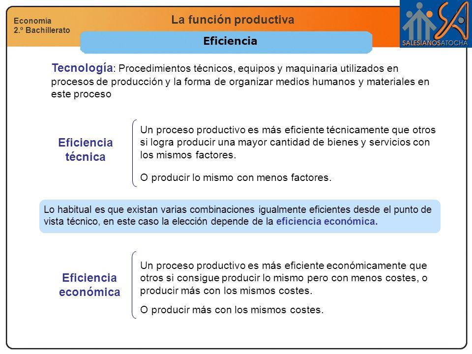 La función productiva Economía 2.º Bachillerato Eficiencia técnica Un proceso productivo es más eficiente técnicamente que otros si logra producir una