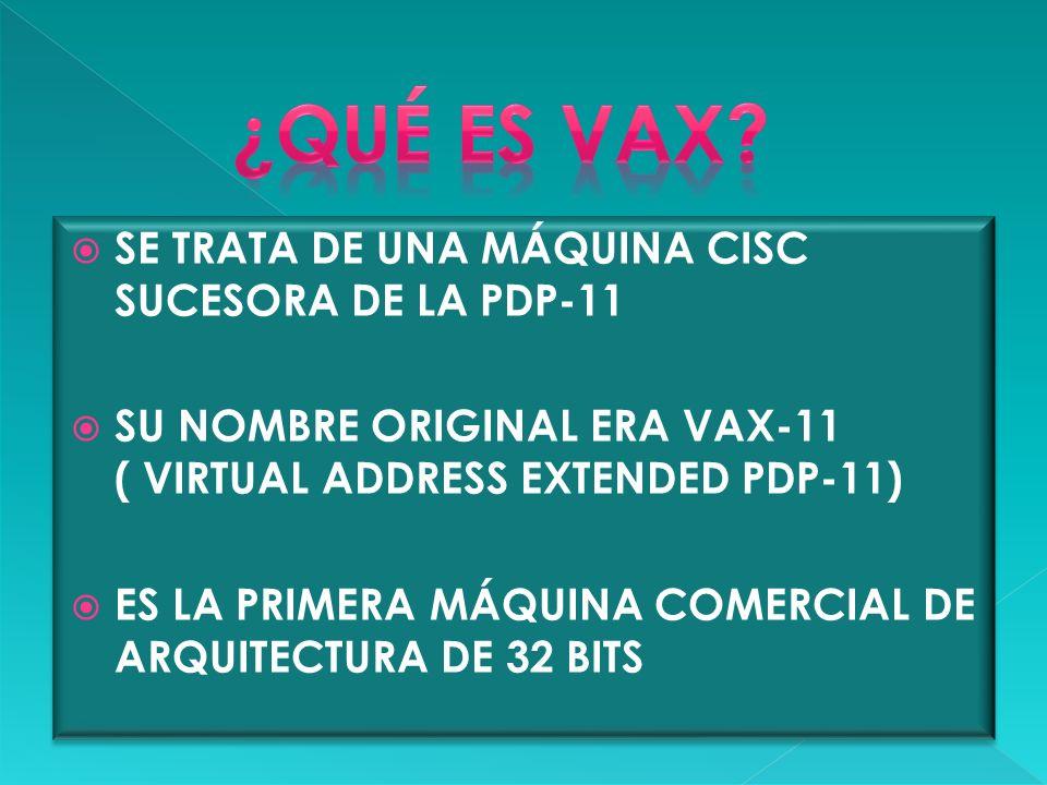 SE TRATA DE UNA MÁQUINA CISC SUCESORA DE LA PDP-11 SU NOMBRE ORIGINAL ERA VAX-11 ( VIRTUAL ADDRESS EXTENDED PDP-11) ES LA PRIMERA MÁQUINA COMERCIAL DE