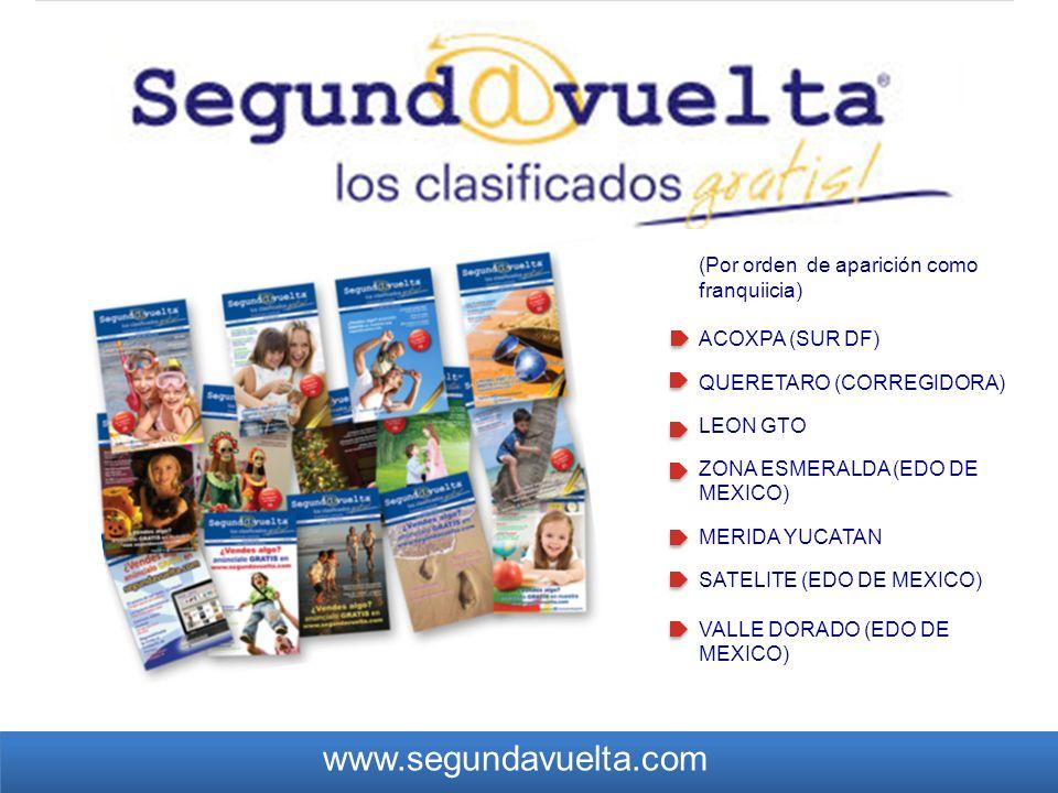 (Por orden de aparición como franquiicia) ACOXPA (SUR DF) QUERETARO (CORREGIDORA) LEON GTO ZONA ESMERALDA (EDO DE MEXICO) MERIDA YUCATAN SATELITE (EDO DE MEXICO) VALLE DORADO (EDO DE MEXICO) www.segundavuelta.com
