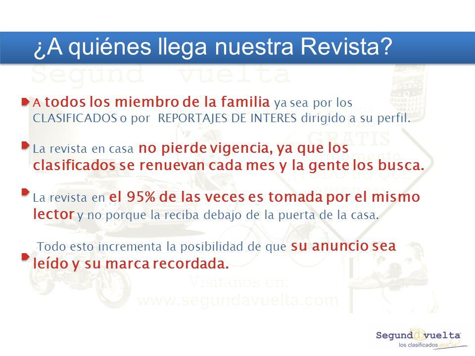 A todos los miembro de la familia ya sea por los CLASIFICADOS o por REPORTAJES DE INTERES dirigido a su perfil.
