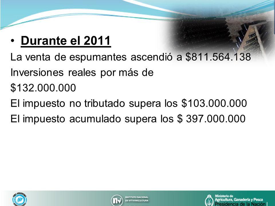 Durante el 2011 La venta de espumantes ascendió a $811.564.138 Inversiones reales por más de $132.000.000 El impuesto no tributado supera los $103.000
