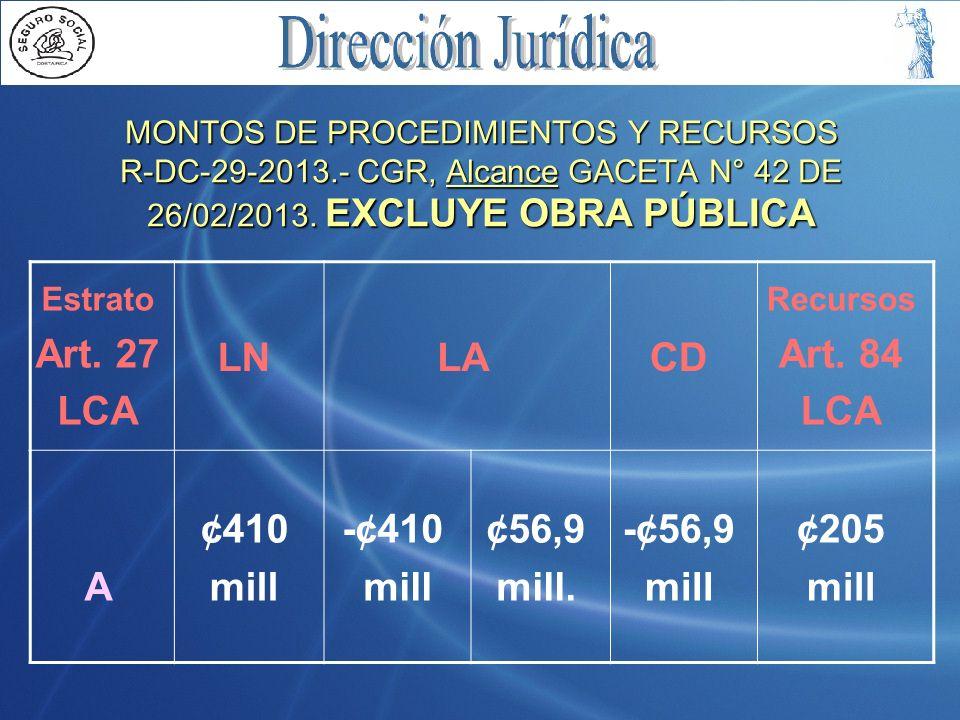 MONTOS DE PROCEDIMIENTOS Y RECURSOS R-DC-29-2013.- CGR, Alcance GACETA N° 42 DE 26/02/2013. EXCLUYE OBRA PÚBLICA Estrato Art. 27 LCA LNLACD Recursos A