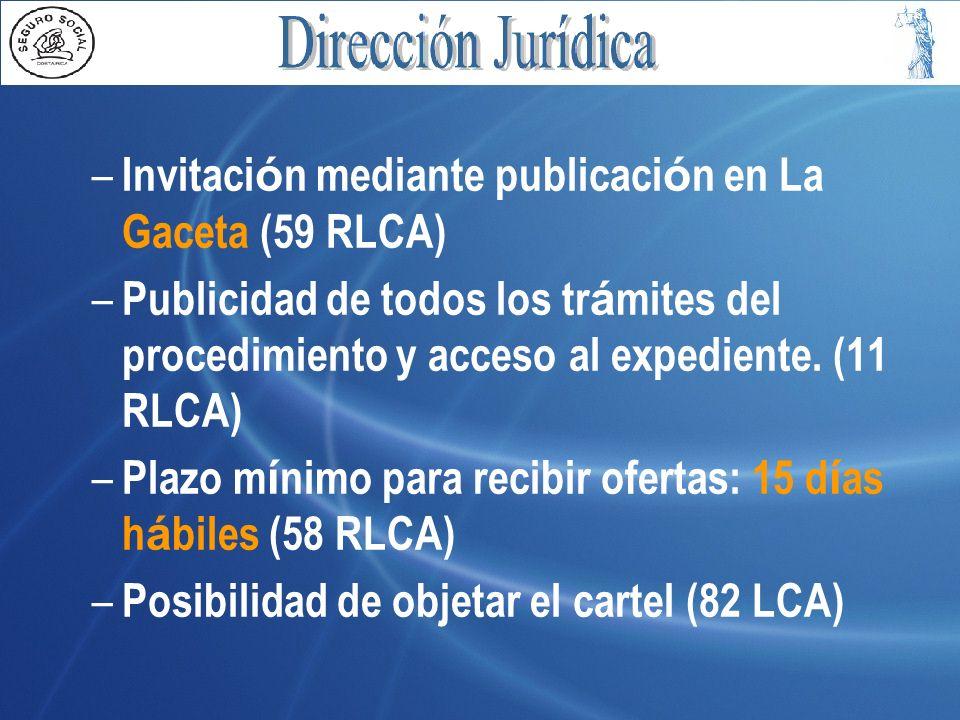 Estructura m í nima: (Cont) – Sometimiento de los oferentes al Ordenamiento Jurídico (10 LCA) – Rendici ó n garant í a de participaci ó n facultativa (33 LCA, 37 RLCA) – Rendici ó n garant í a de cumplimiento (34 LCA, 40 RLCA) – Subsanaci ó n defectos (80 y 81 RLCA)