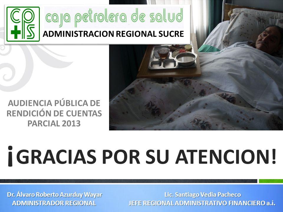 AUDIENCIA PÚBLICA DE RENDICIÓN DE CUENTAS PARCIAL 2013 ¡ GRACIAS POR SU ATENCION! ADMINISTRACION REGIONAL SUCRE Lic. Santiago Vedia Pacheco JEFE REGIO
