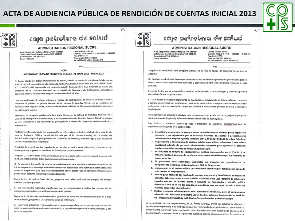 ACTA DE AUDIENCIA PÚBLICA DE RENDICIÓN DE CUENTAS INICIAL 2013