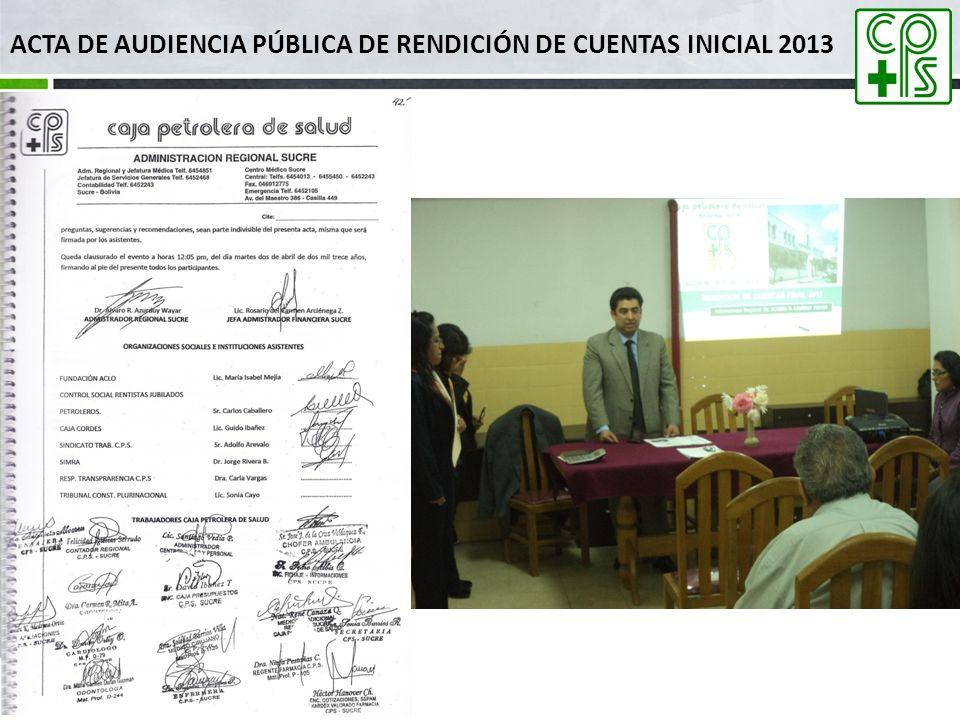 Audiencia Pública de Rendición de Cuentas Parcial 2013 ADMINISTRACION REGIONAL SUCRE Dr.