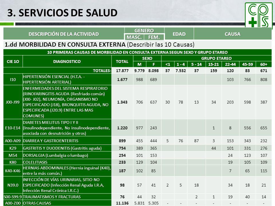 3. SERVICIOS DE SALUD DESCRIPCIÓN DE LA ACTIVIDAD GENERO EDADCAUSA MASC.FEM. 1.dd MORBILIDAD EN CONSULTA EXTERNA (Describir las 10 Causas) 10 PRIMERAS
