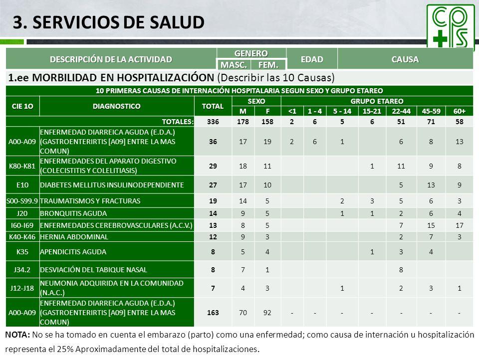 3. SERVICIOS DE SALUD DESCRIPCIÓN DE LA ACTIVIDAD GENERO EDADCAUSA MASC.FEM. 1.ee MORBILIDAD EN HOSPITALIZACIÓON (Describir las 10 Causas) 10 PRIMERAS