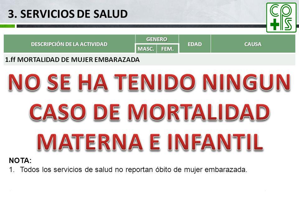 3. SERVICIOS DE SALUD DESCRIPCIÓN DE LA ACTIVIDAD GENEROEDADCAUSAMASC.FEM. 1.ff MORTALIDAD DE MUJER EMBARAZADA NOTA: 1.Todos los servicios de salud no