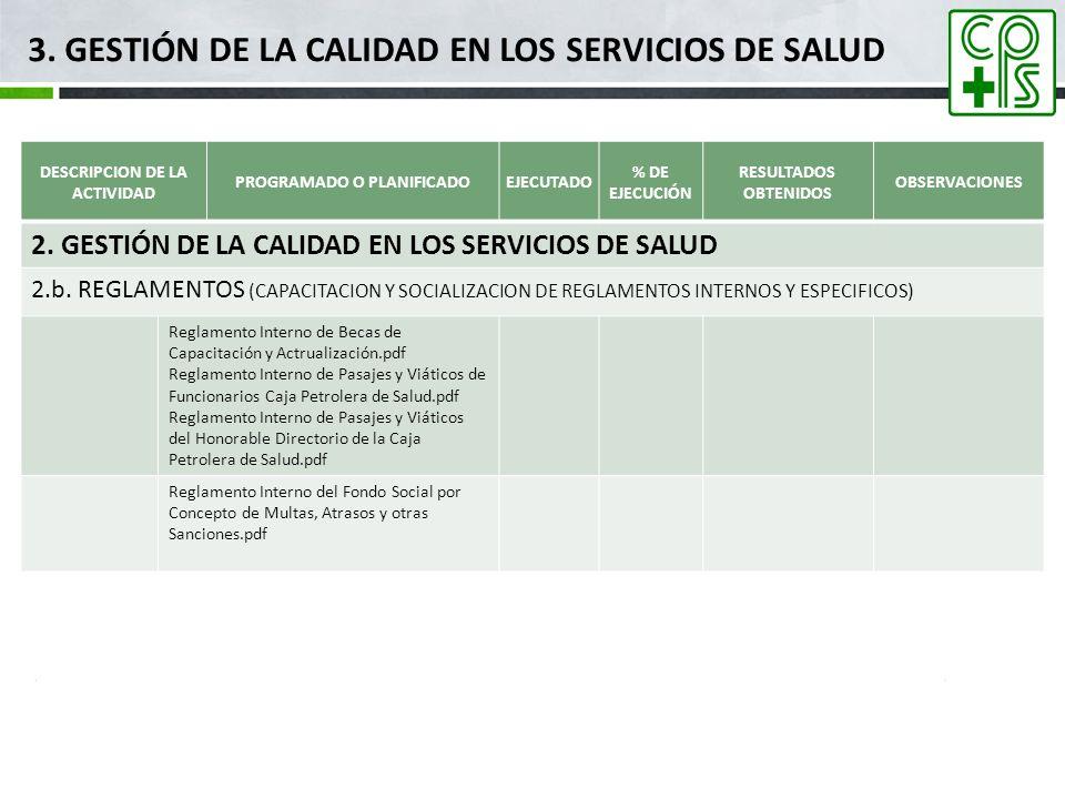 3. GESTIÓN DE LA CALIDAD EN LOS SERVICIOS DE SALUD DESCRIPCION DE LA ACTIVIDAD PROGRAMADO O PLANIFICADOEJECUTADO % DE EJECUCIÓN RESULTADOS OBTENIDOS O