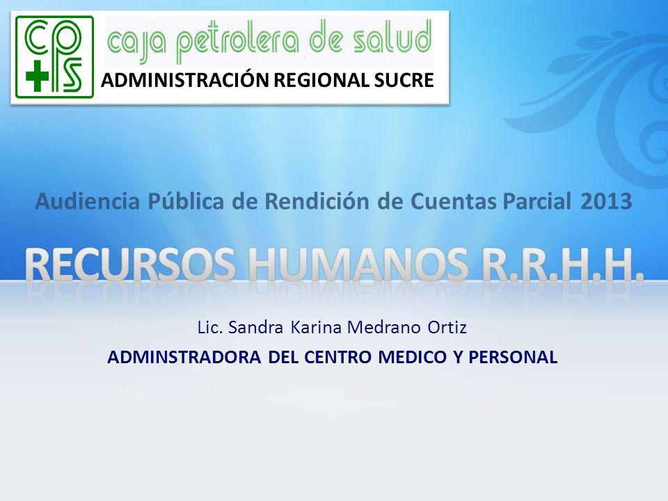 Audiencia Pública de Rendición de Cuentas Parcial 2013 ADMINISTRACIÓN REGIONAL SUCRE Lic. Sandra Karina Medrano Ortiz ADMINSTRADORA DEL CENTRO MEDICO