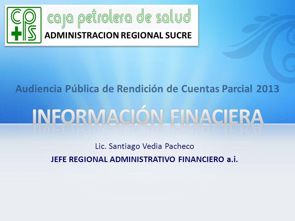 Audiencia Pública de Rendición de Cuentas Parcial 2013 ADMINISTRACION REGIONAL SUCRE Lic. Santiago Vedia Pacheco JEFE REGIONAL ADMINISTRATIVO FINANCIE