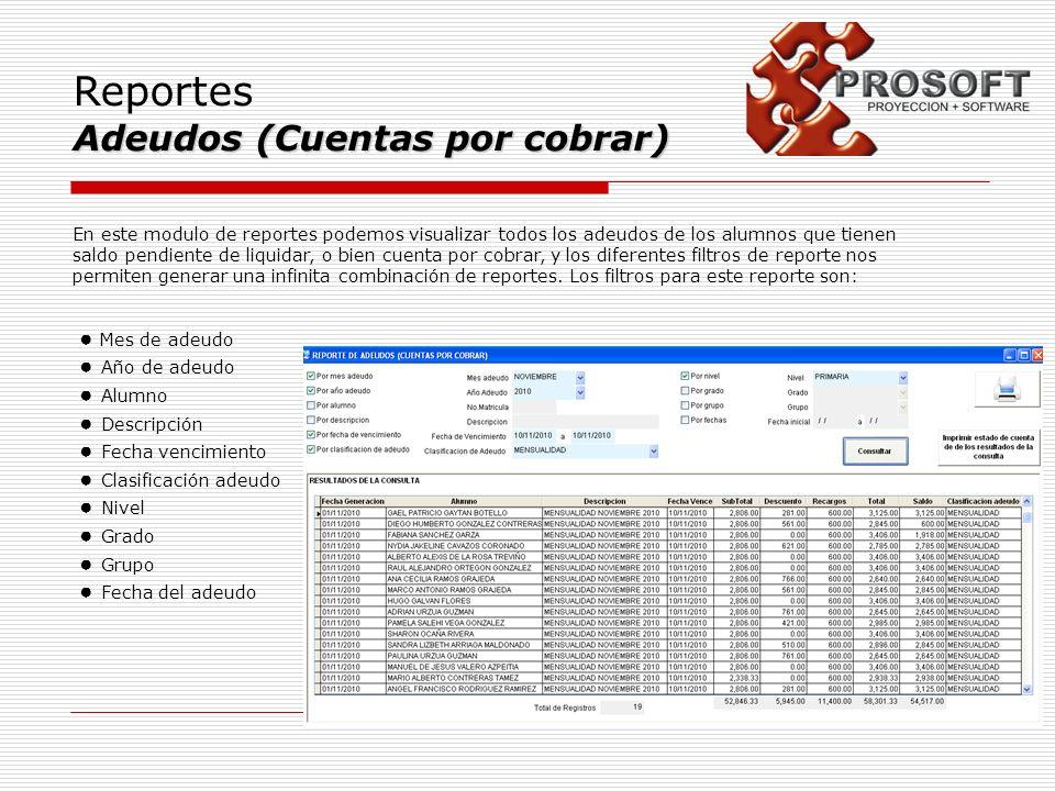 Reportes Adeudos (Cuentas por cobrar) En este modulo de reportes podemos visualizar todos los adeudos de los alumnos que tienen saldo pendiente de liq
