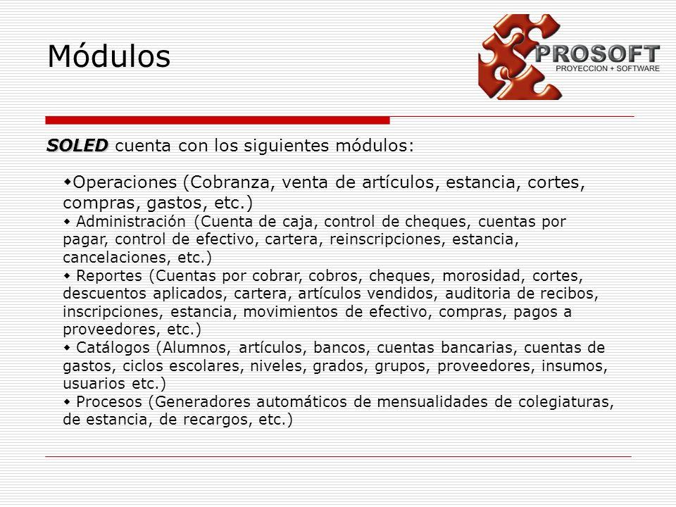 Módulos SOLED SOLED cuenta con los siguientes módulos: Operaciones (Cobranza, venta de artículos, estancia, cortes, compras, gastos, etc.) Administrac