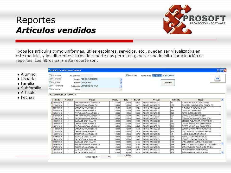 Reportes Artículos vendidos Todos los artículos como uniformes, útiles escolares, servicios, etc., pueden ser visualizados en este modulo, y los difer