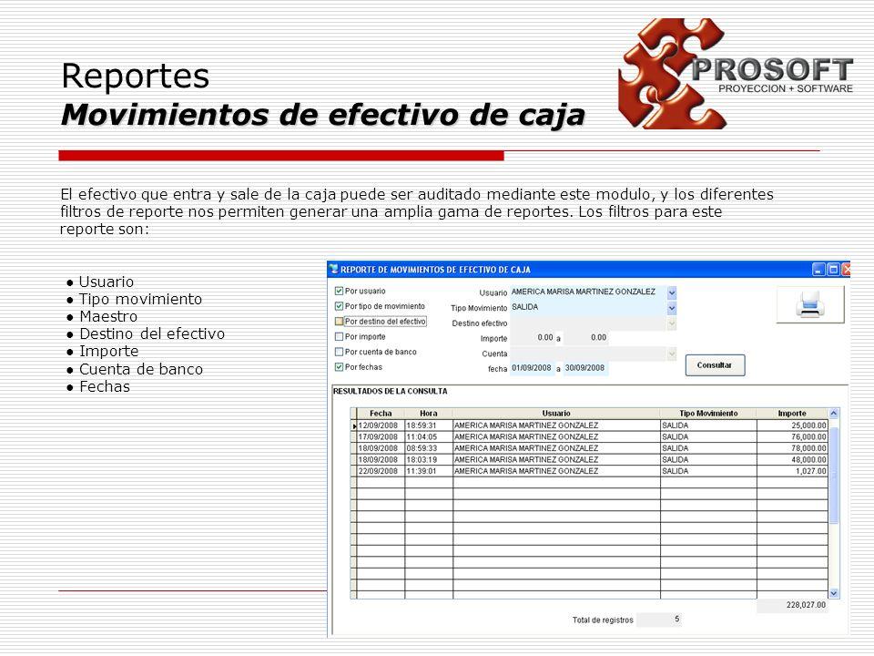 Reportes Movimientos de efectivo de caja El efectivo que entra y sale de la caja puede ser auditado mediante este modulo, y los diferentes filtros de