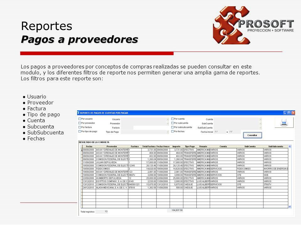 Reportes Pagos a proveedores Los pagos a proveedores por conceptos de compras realizadas se pueden consultar en este modulo, y los diferentes filtros