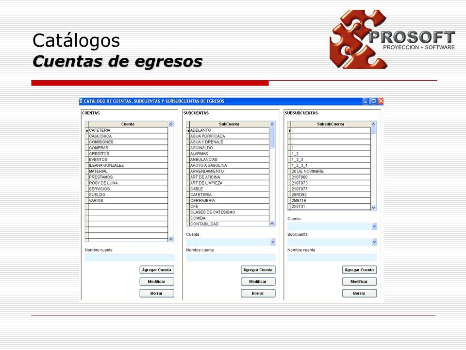 Catálogos Cuentas de egresos