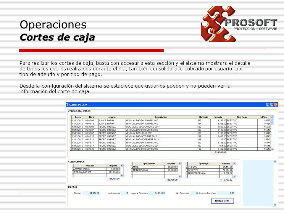 Operaciones Cortes de caja Para realizar los cortes de caja, basta con accesar a esta sección y el sistema mostrara el detalle de todos los cobros rea