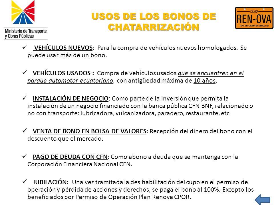 USOS DE LOS BONOS DE CHATARRIZACIÓN VEHÍCULOS NUEVOS: Para la compra de vehículos nuevos homologados. Se puede usar más de un bono. VEHÍCULOS USADOS :