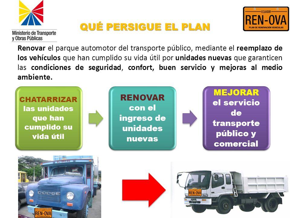 Renovar el parque automotor del transporte público, mediante el reemplazo de los vehículos que han cumplido su vida útil por unidades nuevas que garan