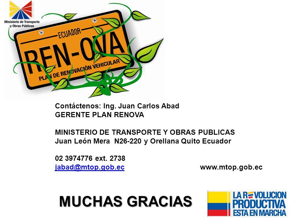 Contáctenos: Ing. Juan Carlos Abad GERENTE PLAN RENOVA MINISTERIO DE TRANSPORTE Y OBRAS PUBLICAS Juan León Mera N26-220 y Orellana Quito Ecuador 02 39