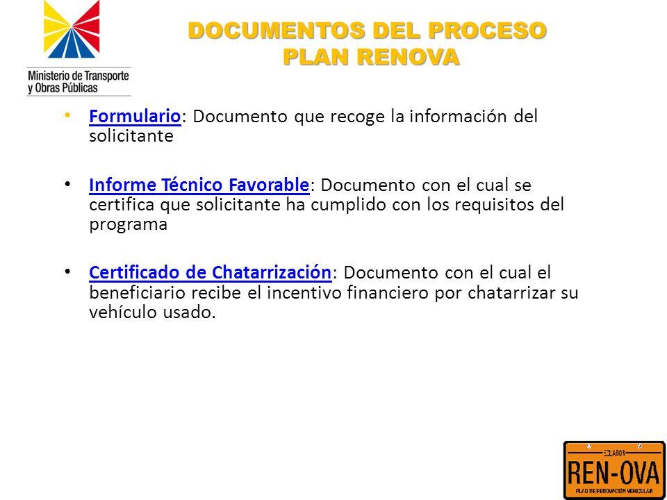DOCUMENTOS DEL PROCESO PLAN RENOVA Formulario: Documento que recoge la información del solicitante Formulario Informe Técnico Favorable: Documento con