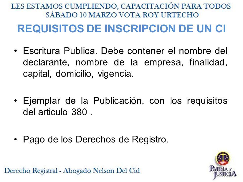 REQUISITOS DE INSCRIPCION DE UN CI Escritura Publica.