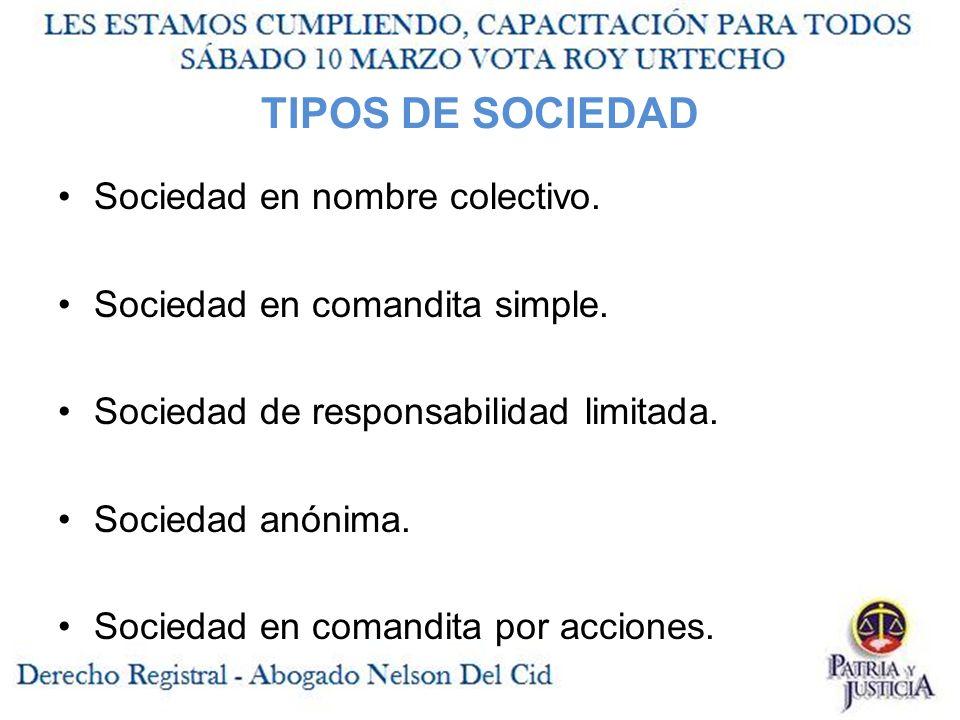 TIPOS DE SOCIEDAD Sociedad en nombre colectivo.Sociedad en comandita simple.