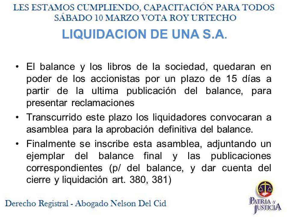 LIQUIDACION DE UNA S.A.