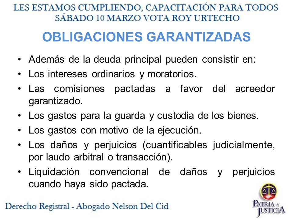 OBLIGACIONES GARANTIZADAS Además de la deuda principal pueden consistir en: Los intereses ordinarios y moratorios.