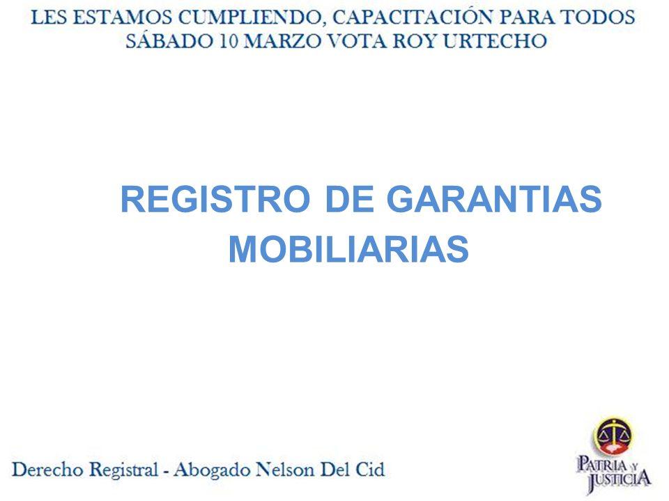 REGISTRO DE GARANTIAS MOBILIARIAS