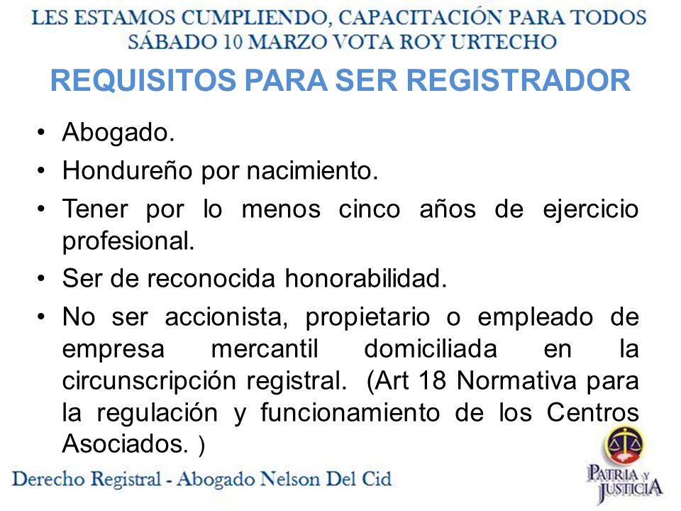 REQUISITOS PARA SER REGISTRADOR Abogado.Hondureño por nacimiento.