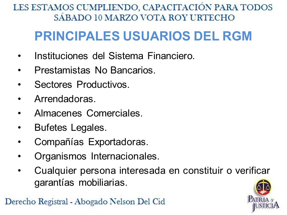 PRINCIPALES USUARIOS DEL RGM Instituciones del Sistema Financiero.