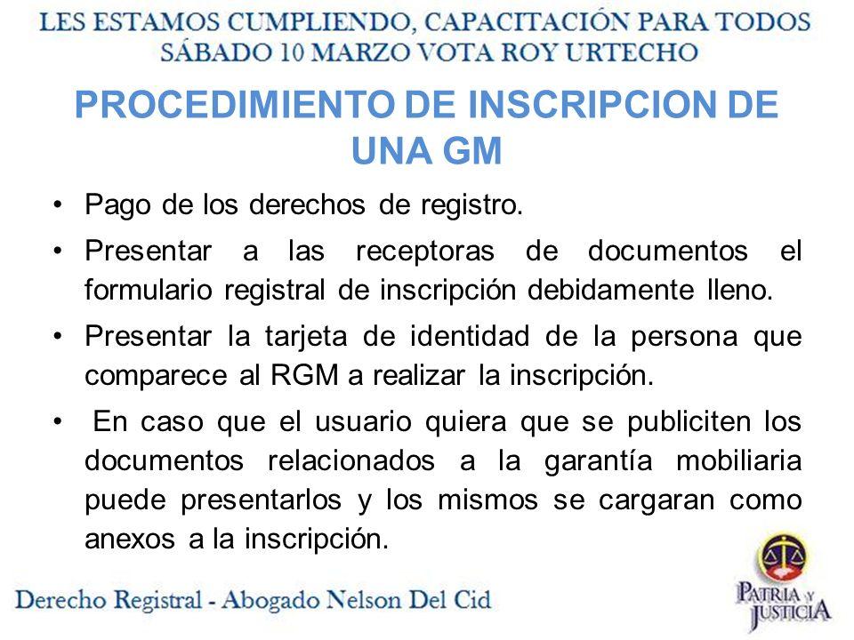 PROCEDIMIENTO DE INSCRIPCION DE UNA GM Pago de los derechos de registro.