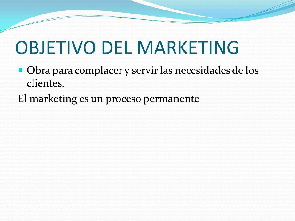 OBJETIVO DEL MARKETING Obra para complacer y servir las necesidades de los clientes. El marketing es un proceso permanente