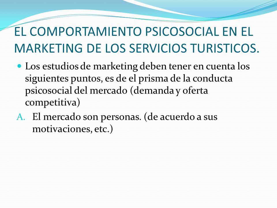 EL COMPORTAMIENTO PSICOSOCIAL EN EL MARKETING DE LOS SERVICIOS TURISTICOS. Los estudios de marketing deben tener en cuenta los siguientes puntos, es d
