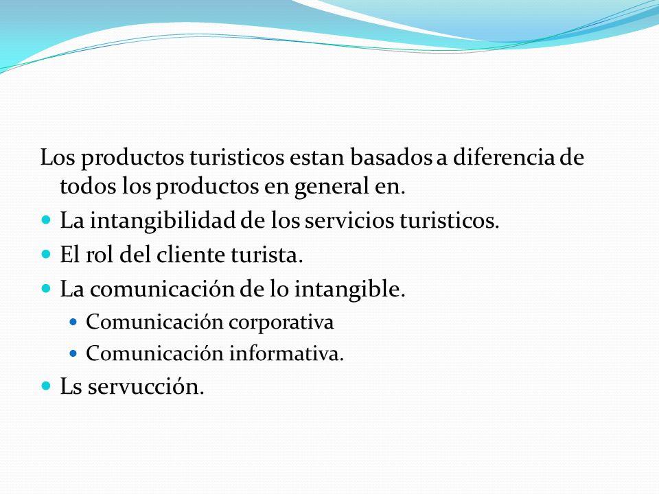 Los productos turisticos estan basados a diferencia de todos los productos en general en. La intangibilidad de los servicios turisticos. El rol del cl