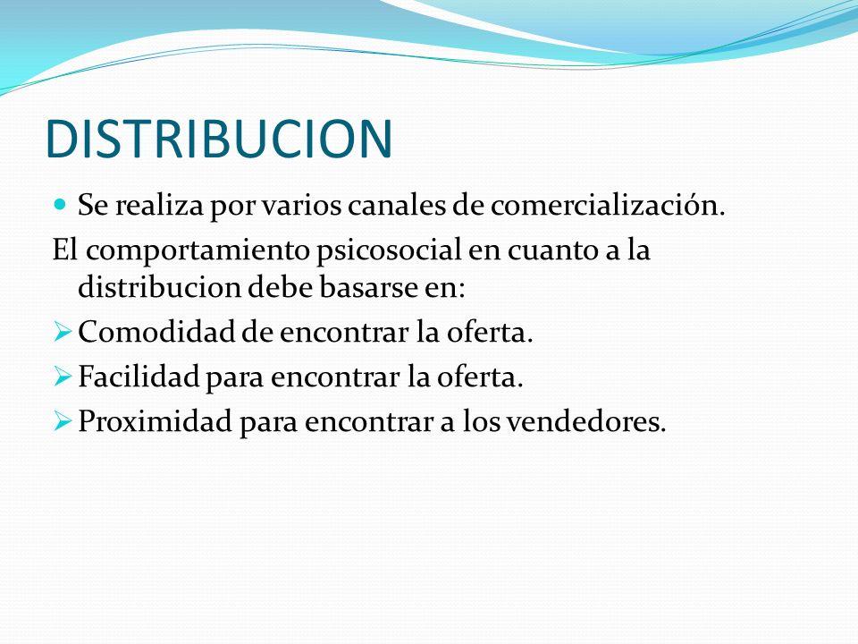 DISTRIBUCION Se realiza por varios canales de comercialización. El comportamiento psicosocial en cuanto a la distribucion debe basarse en: Comodidad d