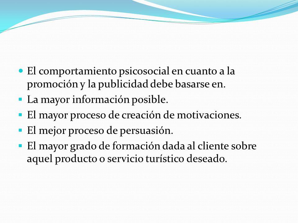 El comportamiento psicosocial en cuanto a la promoción y la publicidad debe basarse en. La mayor información posible. El mayor proceso de creación de