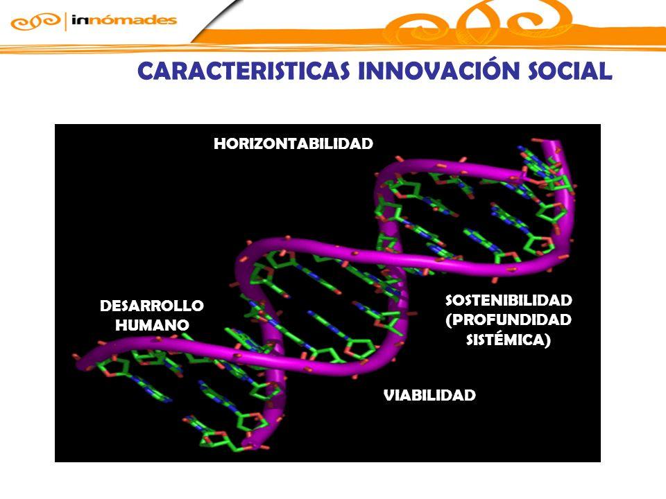 CARACTERISTICAS INNOVACIÓN SOCIAL HORIZONTABILIDAD VIABILIDAD DESARROLLO HUMANO SOSTENIBILIDAD (PROFUNDIDAD SISTÉMICA)
